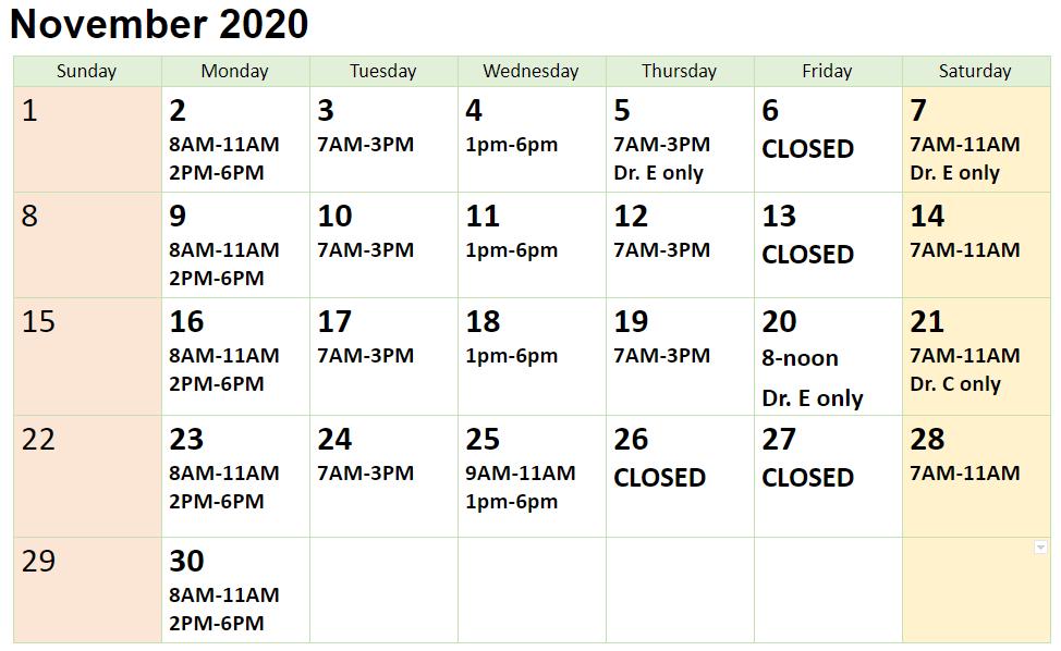 November Calendar Schedule