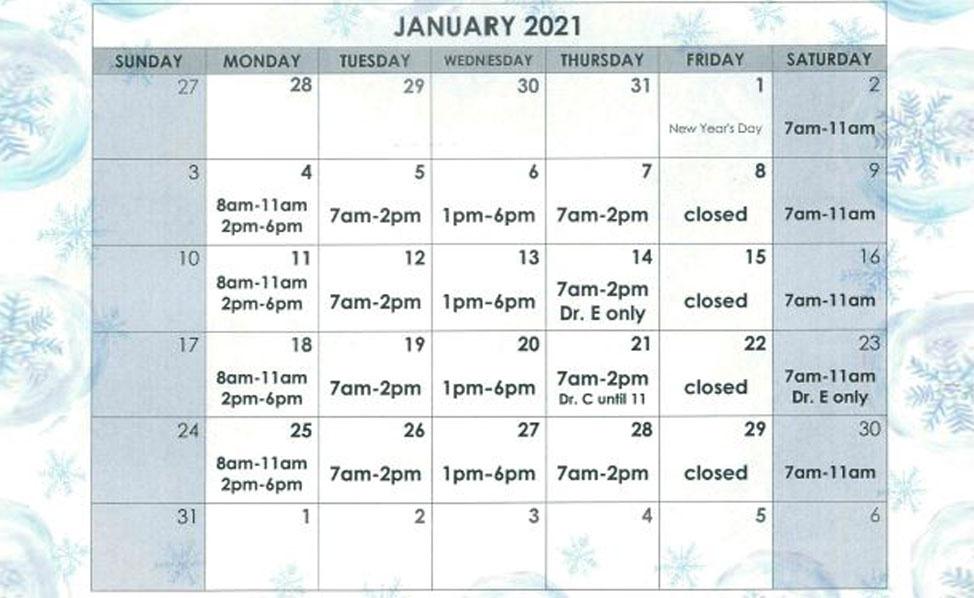 January Calendar Schedule