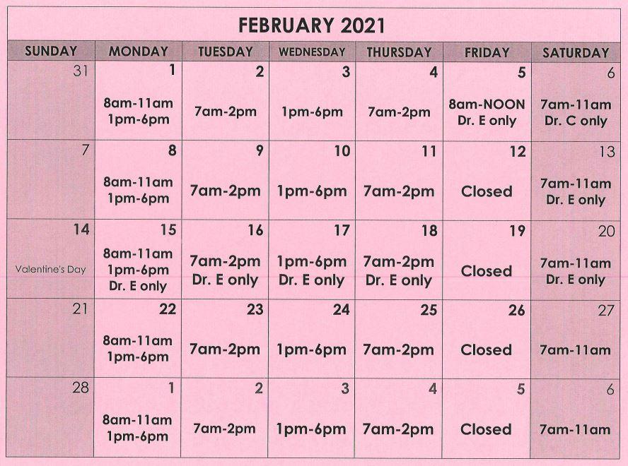 February Calendar Schedule