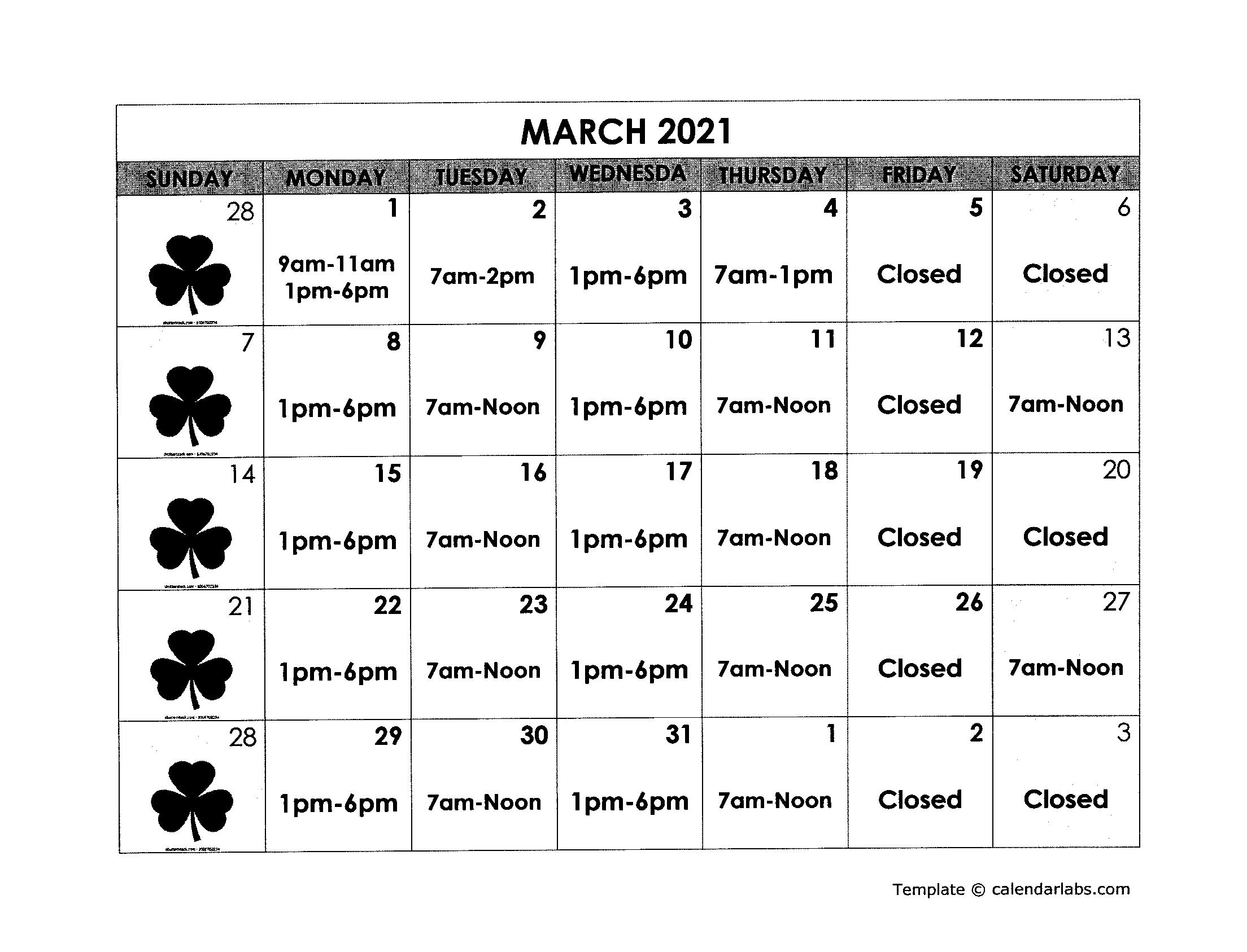 March Calendar Schedule